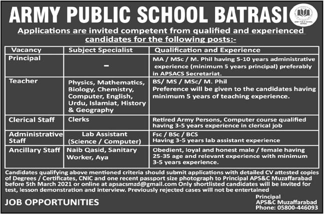 Army Public School Batrasi Teaching & Non Teaching Jobs 2021