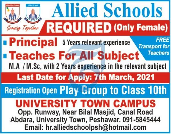Allied Schools Teaching Staff Jobs 2021