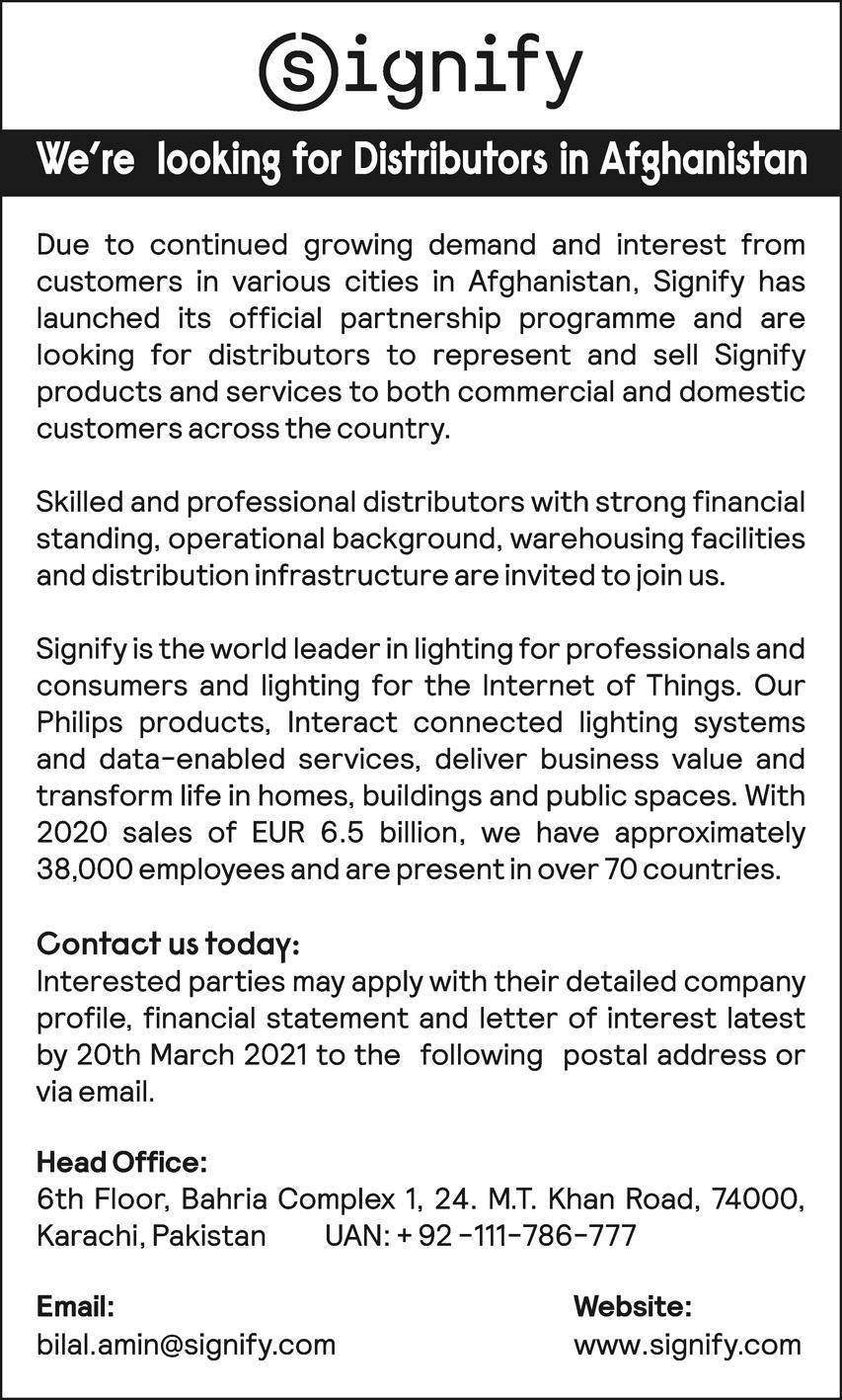 Signify Company Distributor Jobs 2021