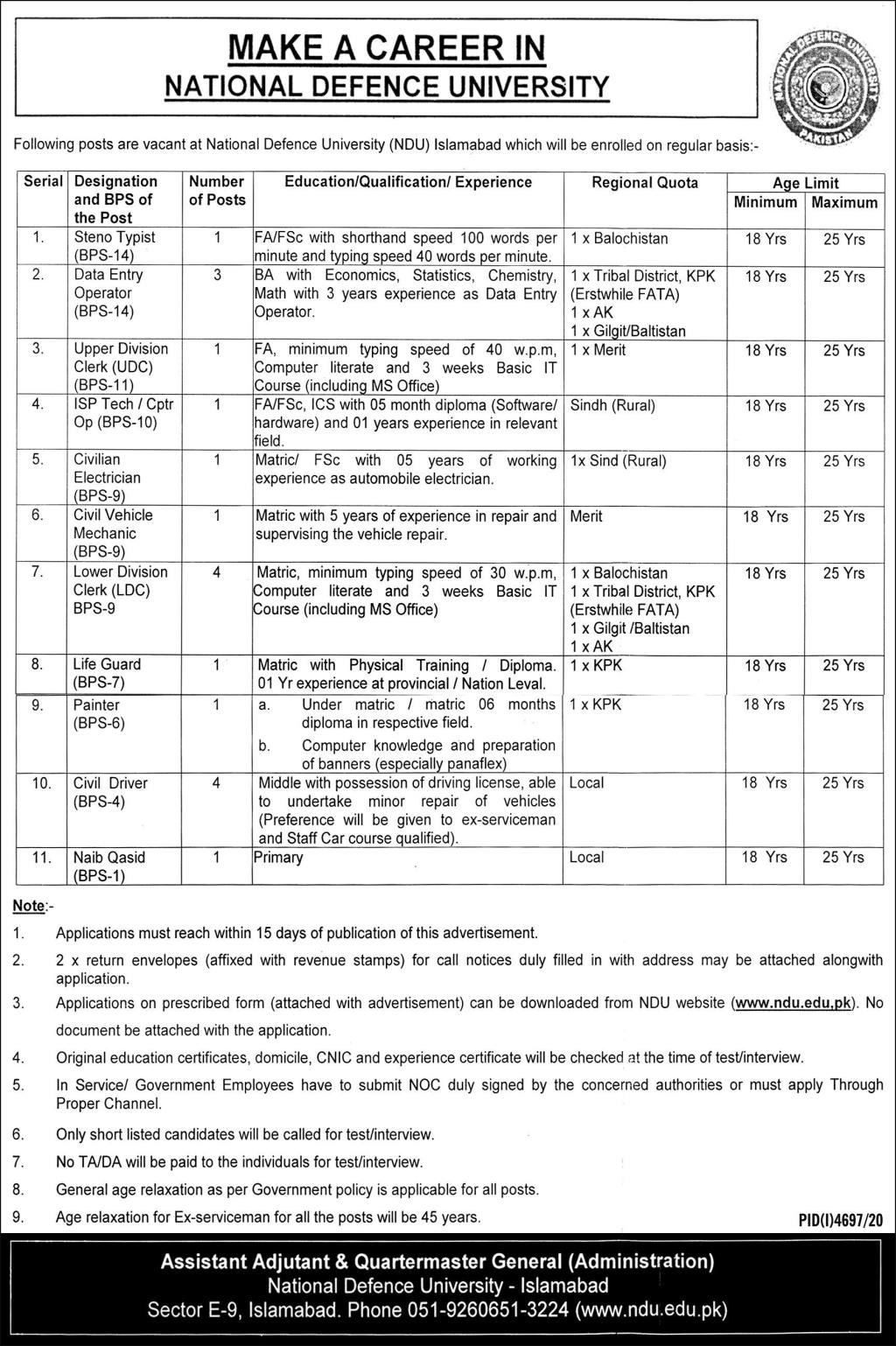 Management Jobs in National Defence University NDU