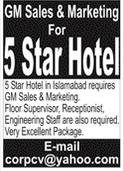 5 Star Hotel Management Staff Jobs 2021