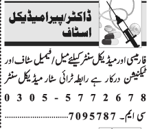 Daily Jang Medical Staff Jobs 2021 in Lahore