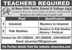 Teaching Staff Jobs in Al Noor Girls Public School & College