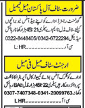 Daily Khabrain General Staff Jobs 2021 in Lahore