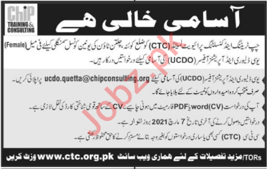 CHIP Training & Consulting CTC Quetta Jobs 2021