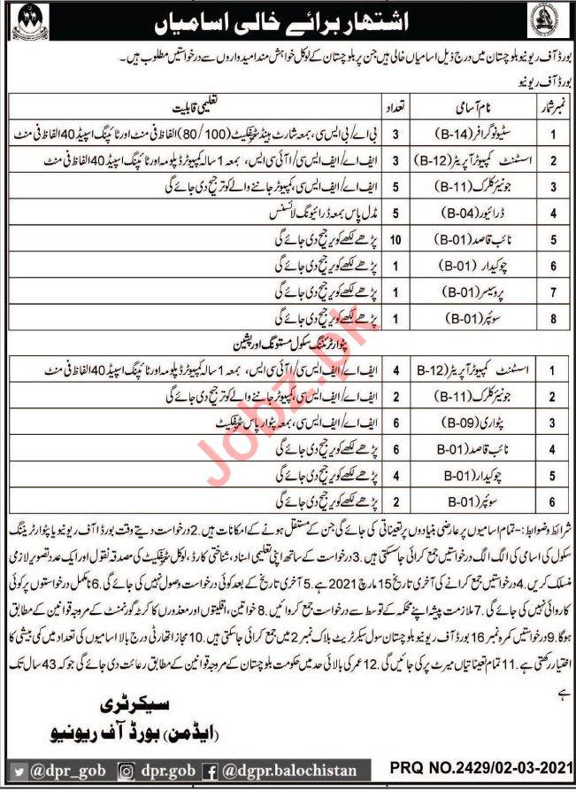 Board of Revenue Balochistan Jobs 2021 for Naib Qasid