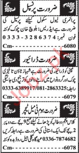 Principal & Teachers Jobs 2021 in Quetta