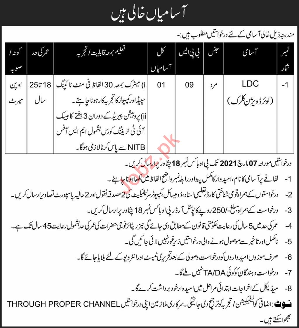 P O Box No 18 Peshawar Jobs 2021 for Lower Division Clerk