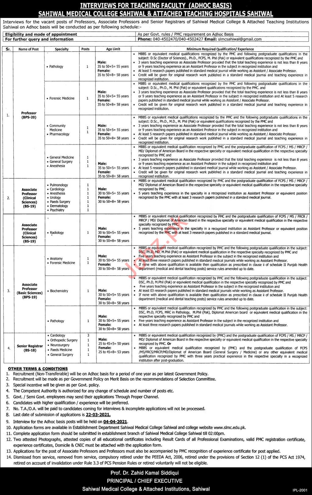 Professors Jobs 2021 in Sahiwal Medical College Sahiwal