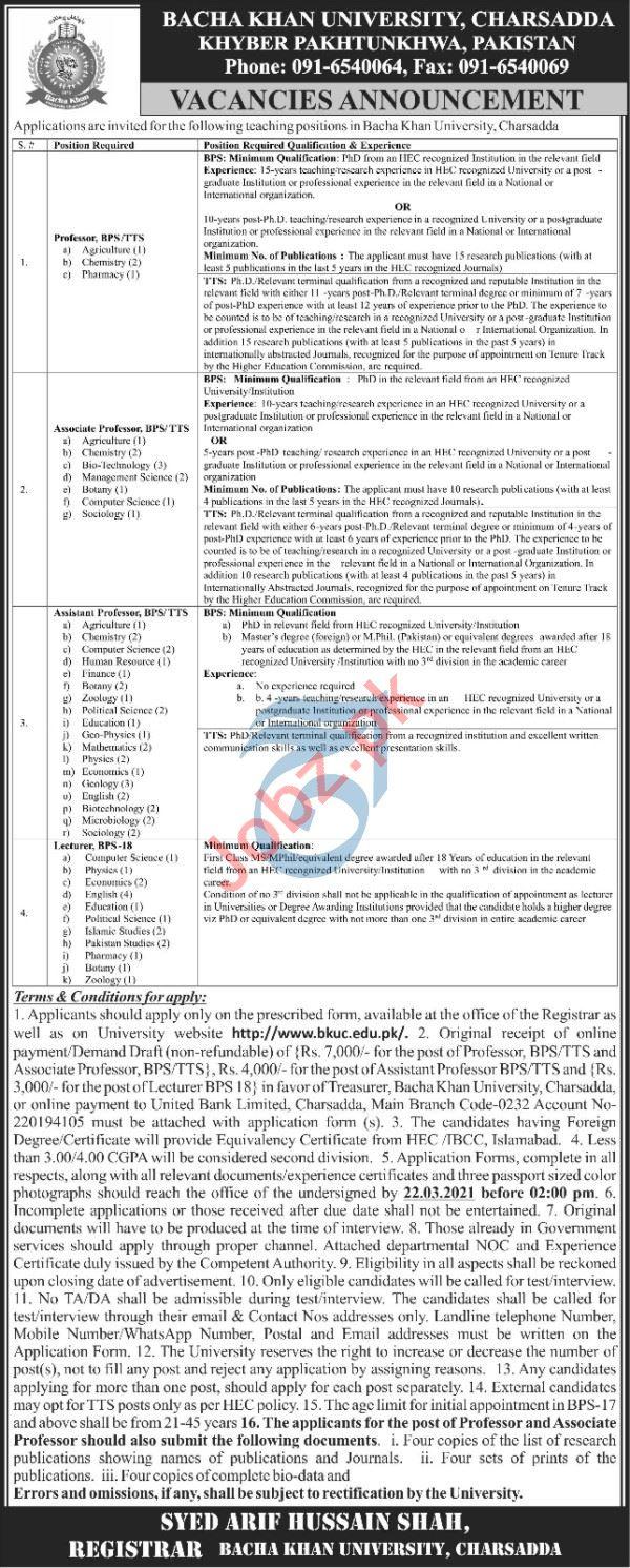 Bacha Khan University Charsadda BKUC Faculty Jobs 2021