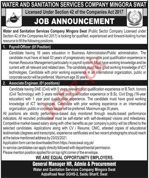 Water & Sanitation Services Company Mingora Swat Jobs 2021