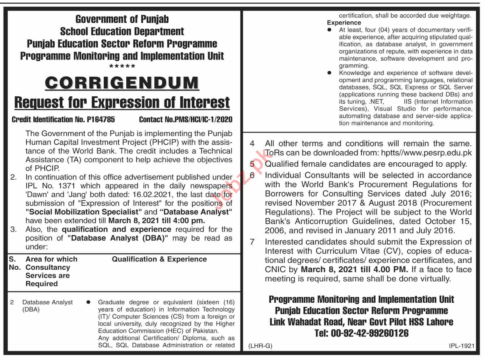 Punjab Education Sector Reform Program PESRP Jobs 2021