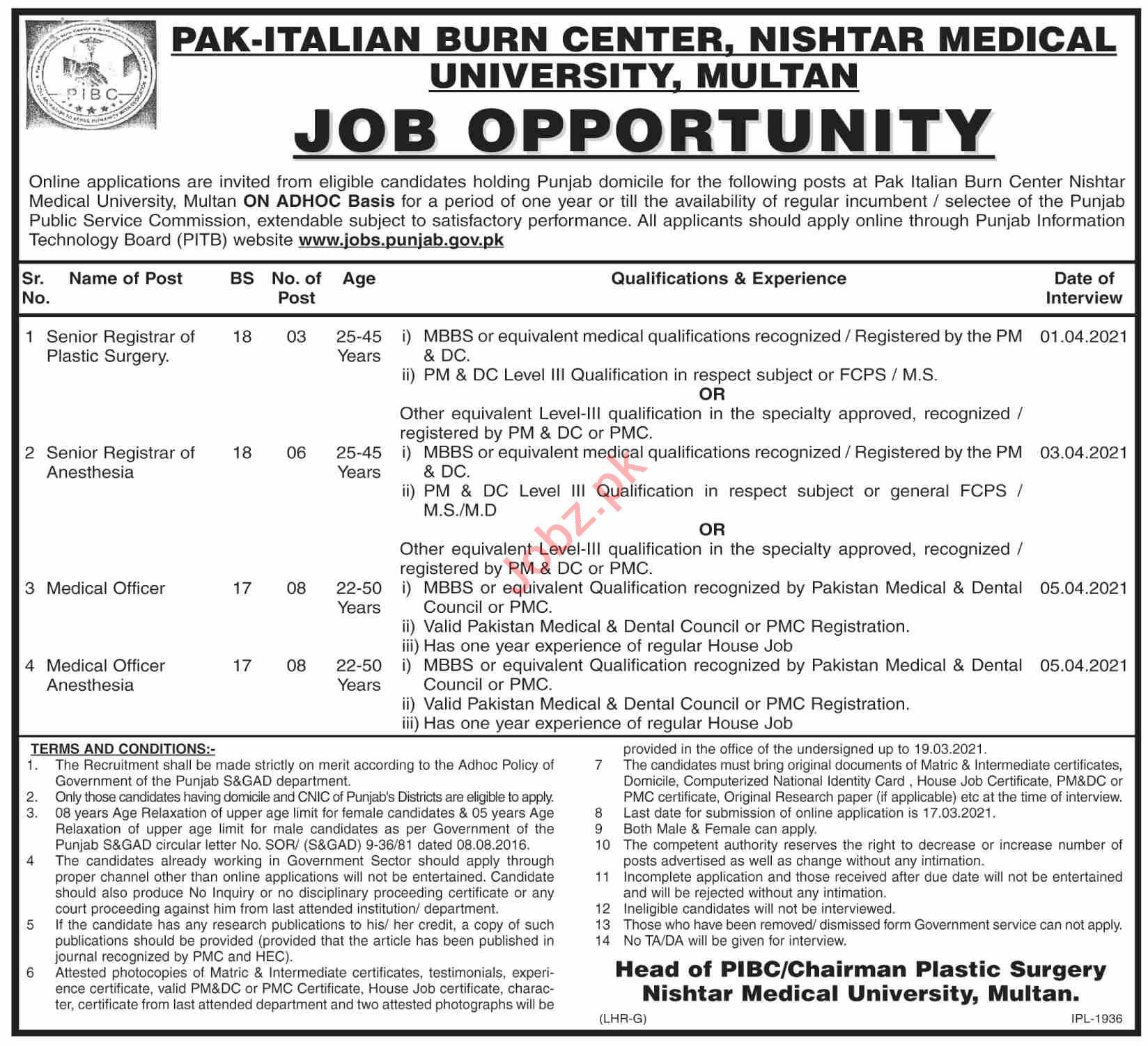 Pak Italian Burn Center Nishtar Hospital Multan Jobs 2021
