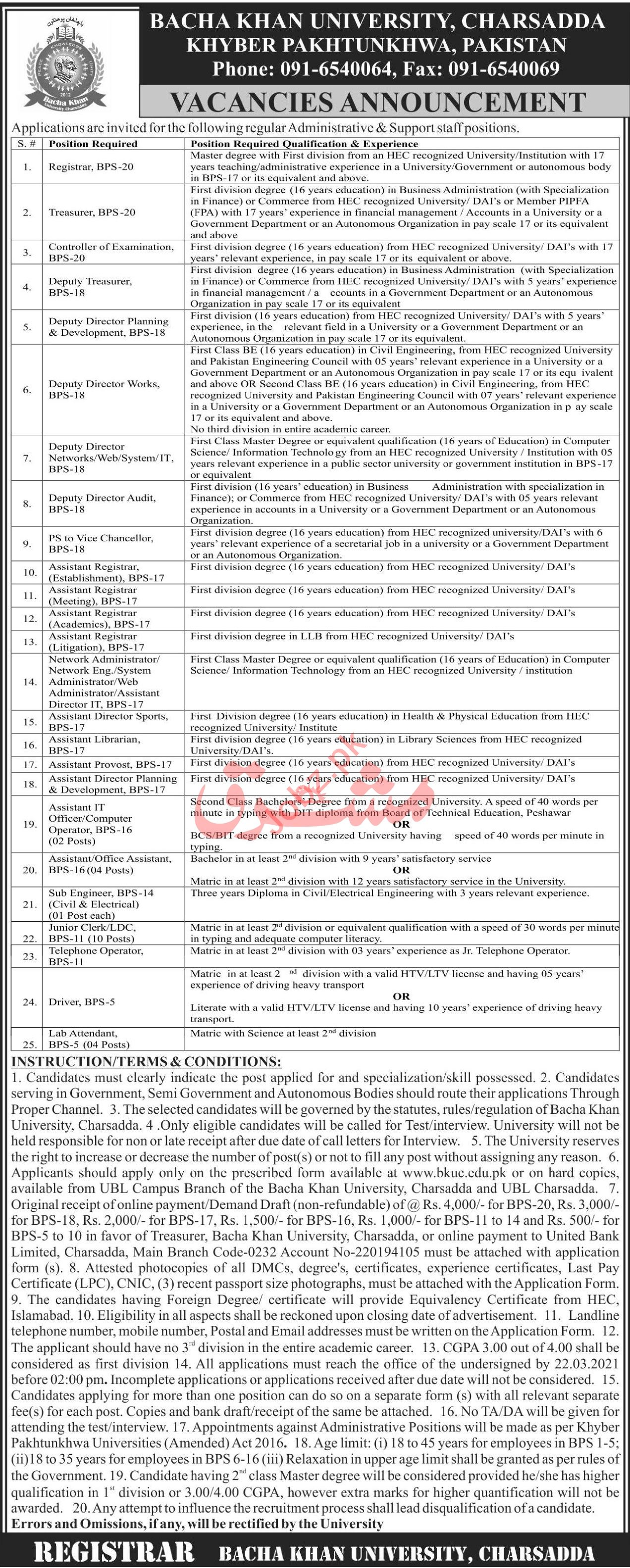 Bacha Khan University Charsadda Jobs Registrar & Director