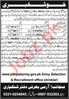 Inter Services Selection Board ISSB Shinkiari Jobs 2021