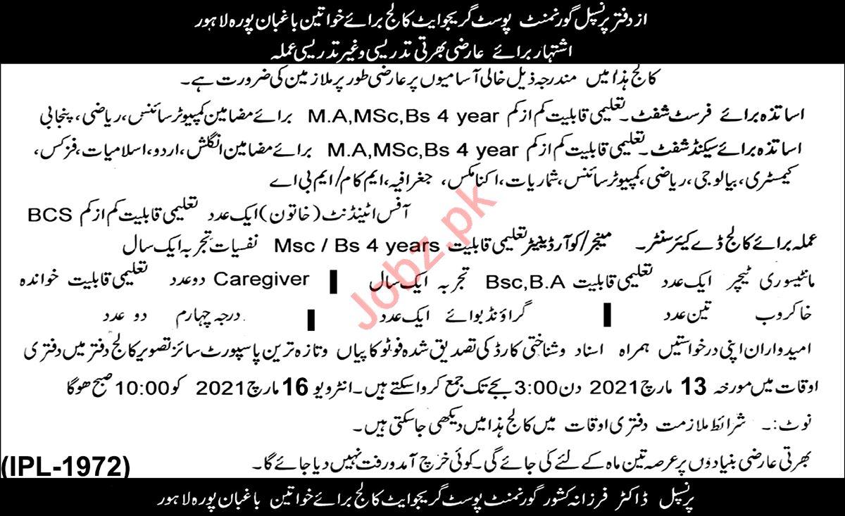 Govt Post Graduate College for Women Lahore Jobs 2021