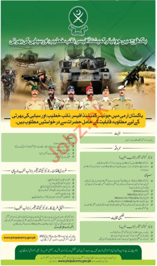 Join Pakistan Army as Junior Commissioned Officer 2021