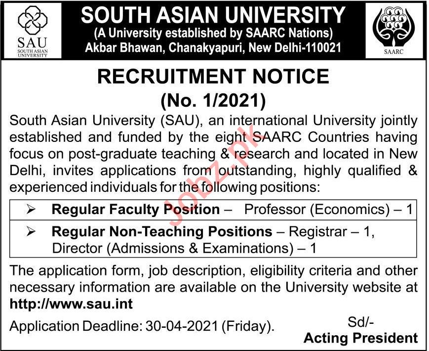 South Asian University SAU Jobs 2021 Professor & Director