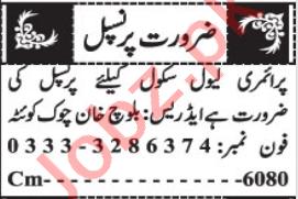 Principal & Vice Principal Jobs 2021 in Quetta