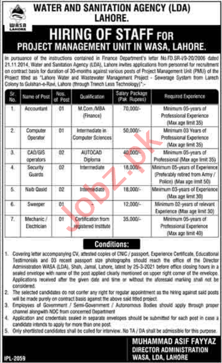 Water & Sanitation Agency LDA Lahore Jobs 2021