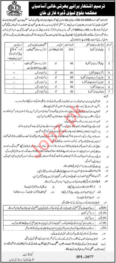 Baloch Levy Dera Ghazi Khan Jobs 2021 for Sepoy