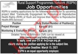 Rural Support Programmes Network RSPN Karachi Jobs 2021