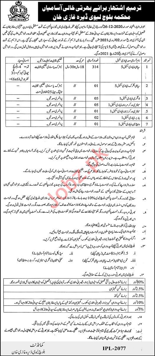 Balochistan Levies Force DG Khan Jobs 2021 for Sepoy