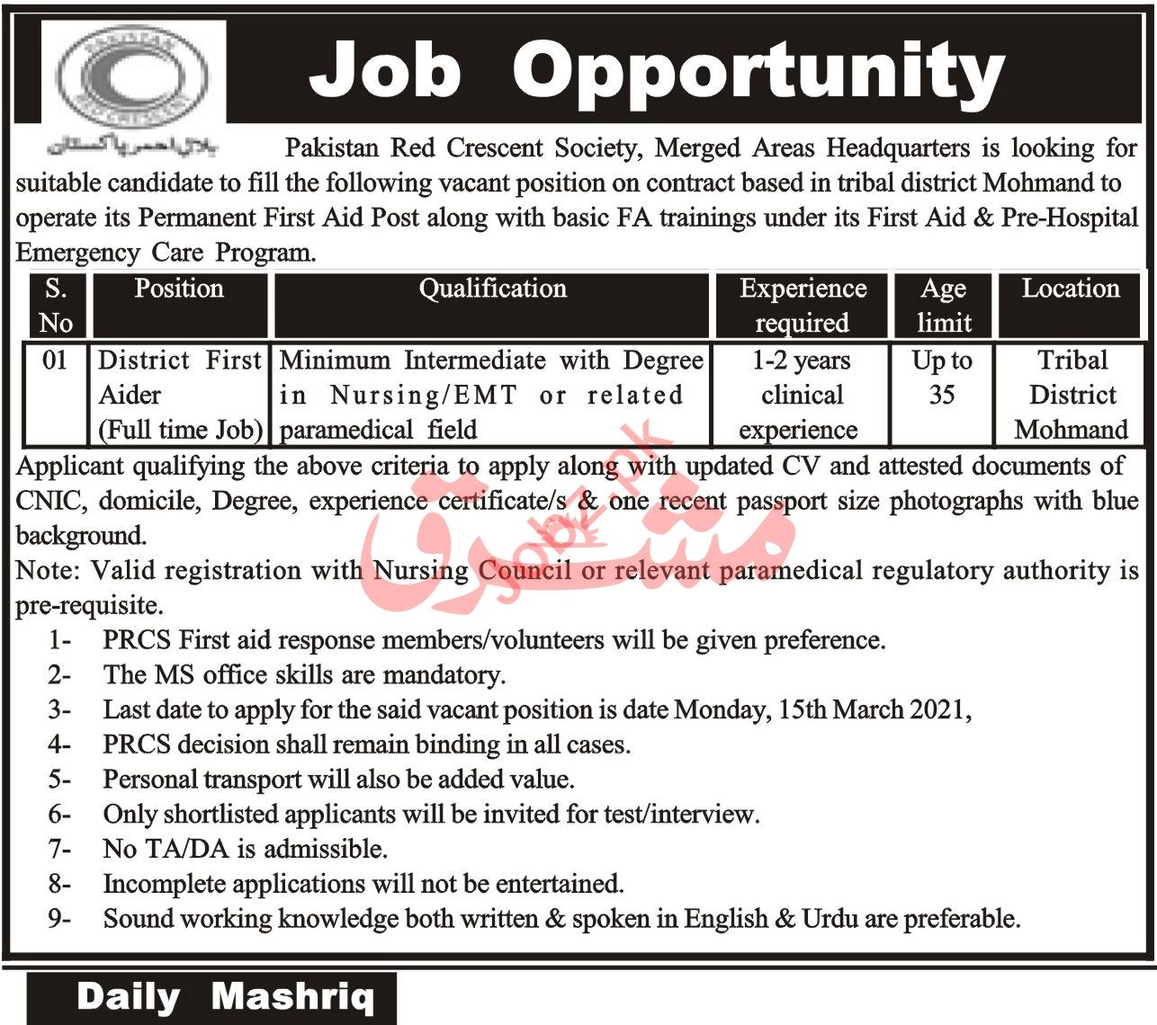 Pakistan Red Crescent Society PRCS Merged Areas Jobs 2021