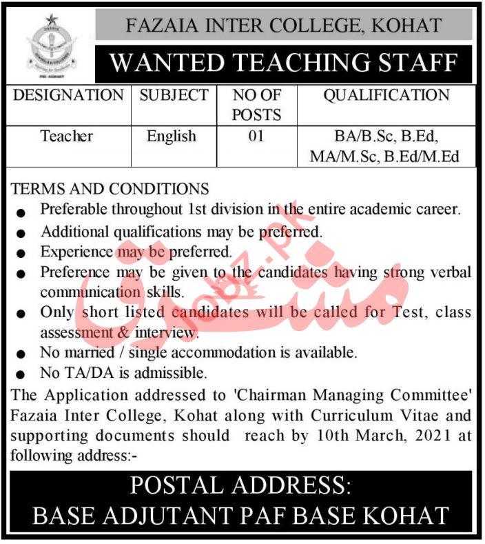 Fazaia Inter College PAF Kohat Jobs 2021 for Teachers