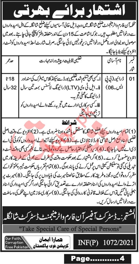 On Farm Water Management Shangla Jobs 2021 for Drivers