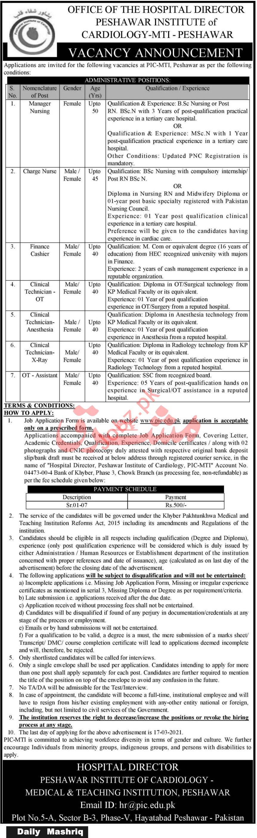 Peshawar Institute of Cardiology PIC MTI Peshawar Jobs 2021