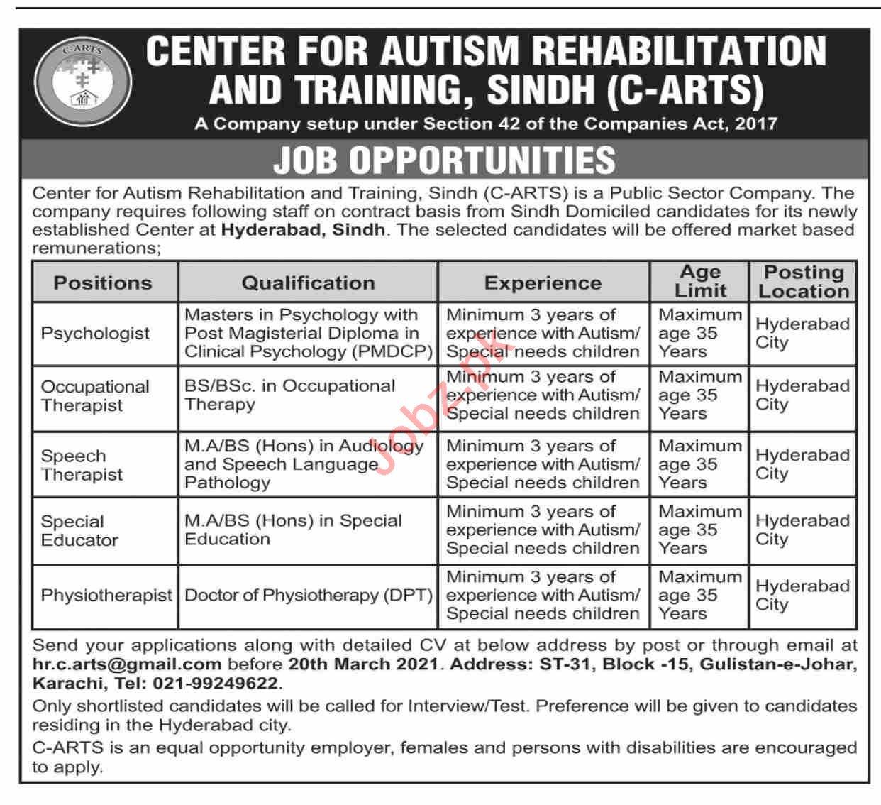 Center for Autism Rehabilitation & Training C ARTS Jobs 2021