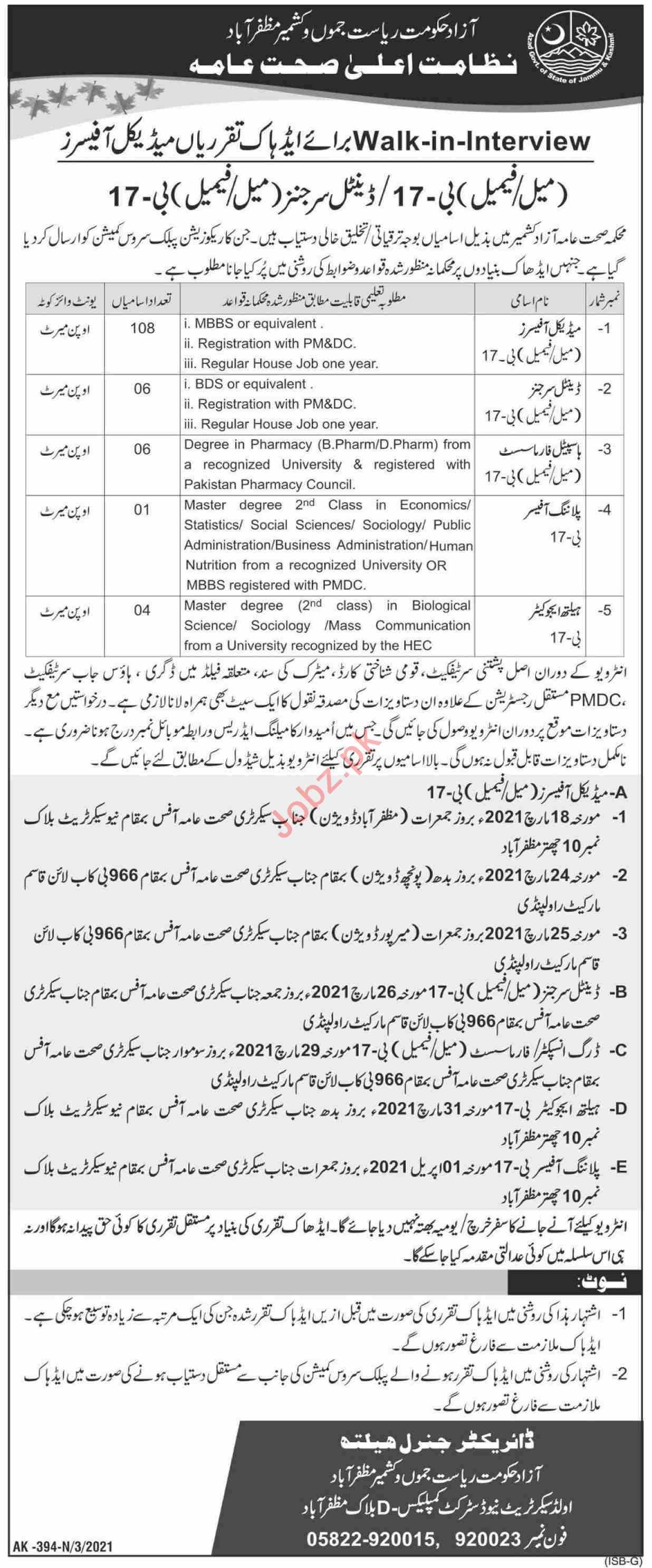 Health Department AJK Jobs 2021 for Medical Officers