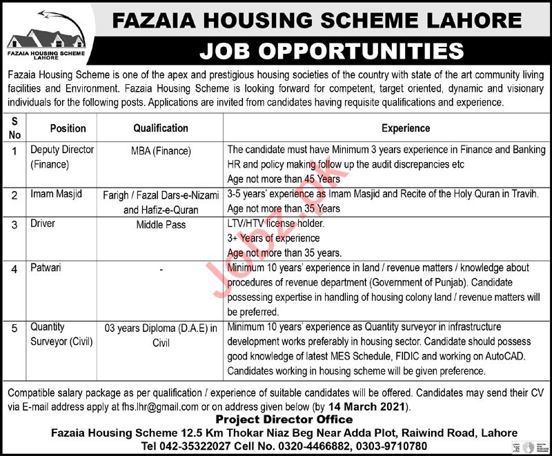 Fazaia Housing Scheme Lahore Jobs 2021 for Deputy Director