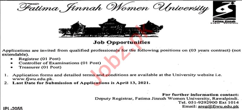 Fatima Jinnah Women University FJWU Rawalpindi Jobs 2021
