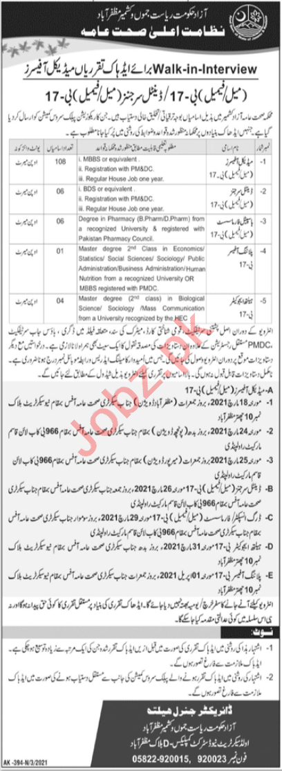 Medical Officer & Surgeon Jobs 2021 in Health Department AJK