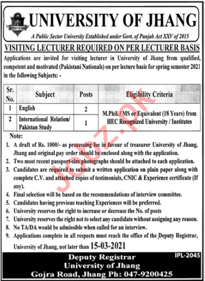 Professors & Lecturers Jobs 2021 in University of Jhang UOJ