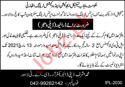 Apprentices Training Center Township Lahore TEVTA Jobs 2021
