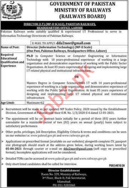 Pakistan Railways Islamabad Jobs 2021 for Director IT