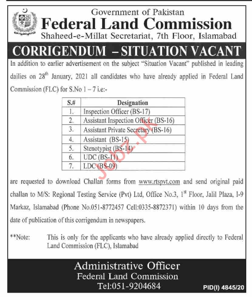 Federal Land Commission FLC Islamabad Jobs 2021