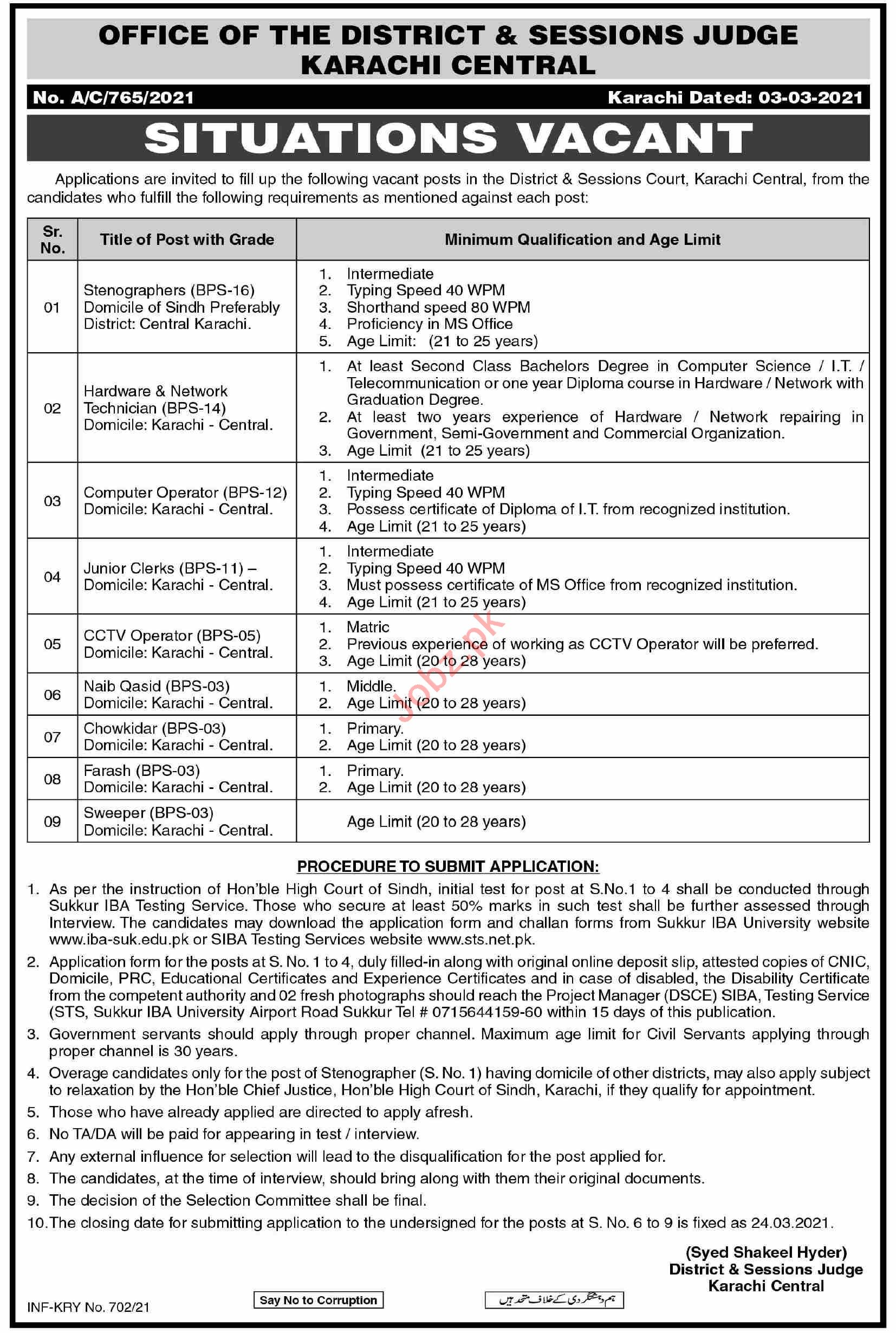 District & Session Court Karachi Central Jobs 2021