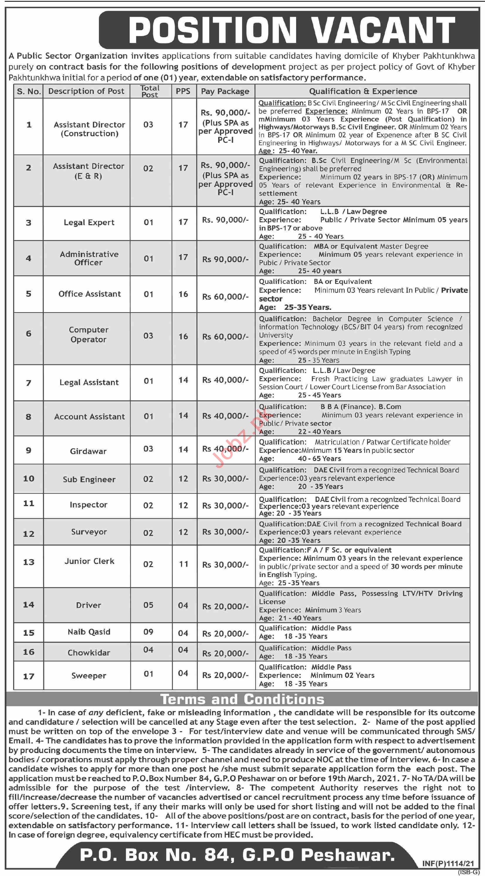 P O Box No 84 GPO Peshawar Jobs 2021 for Assistant Director