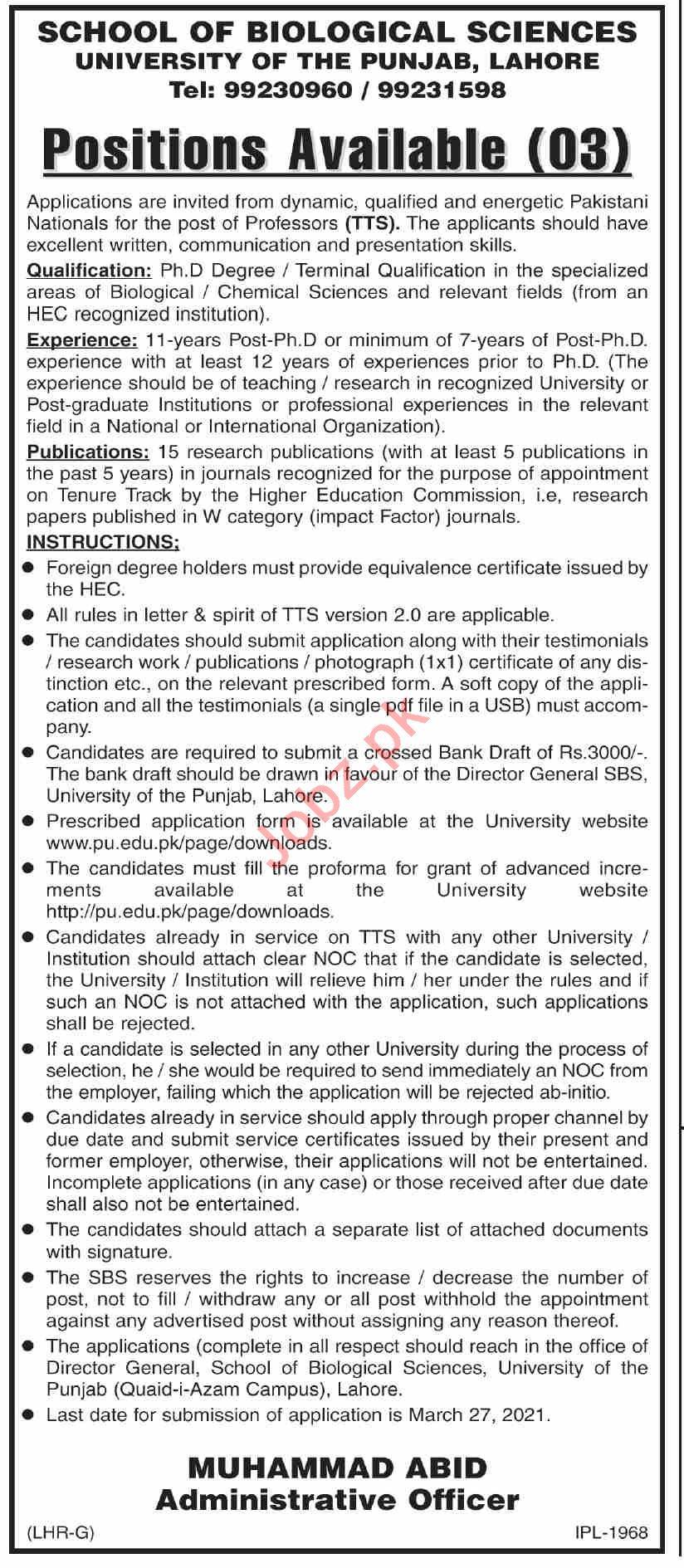 School of Biological Sciences University of Punjab PU Jobs