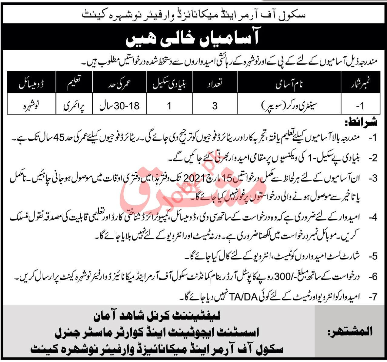 School of Armour & Mechanised Warfare Nowshera Jobs 2021