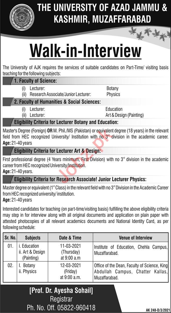 The University of Azad Jammu & Kashmir Jobs Interview 2021