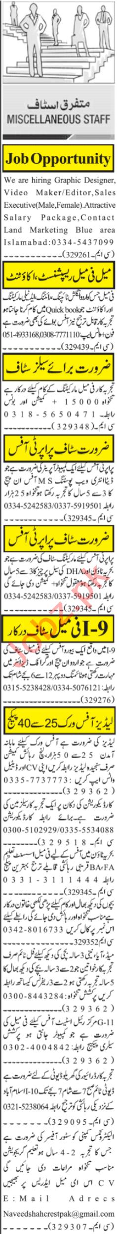 Video Editor & Sales Executive Jobs 2021 in Islamabad