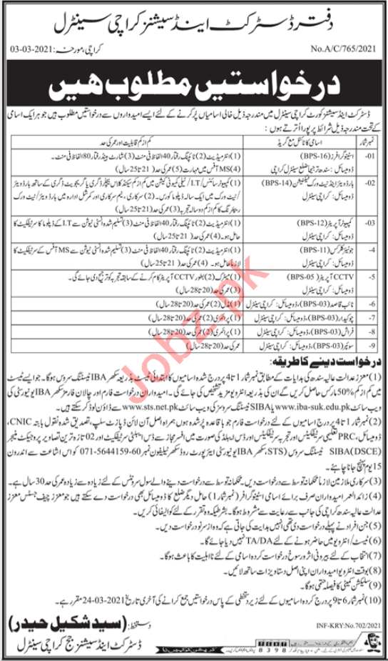 District & Session Court Karachi Central Jobs 2021 for Clerk