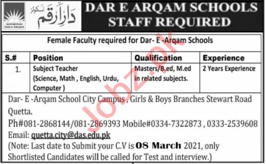 Dar e Arqam School City Campus Quetta Jobs 2021 for Teachers