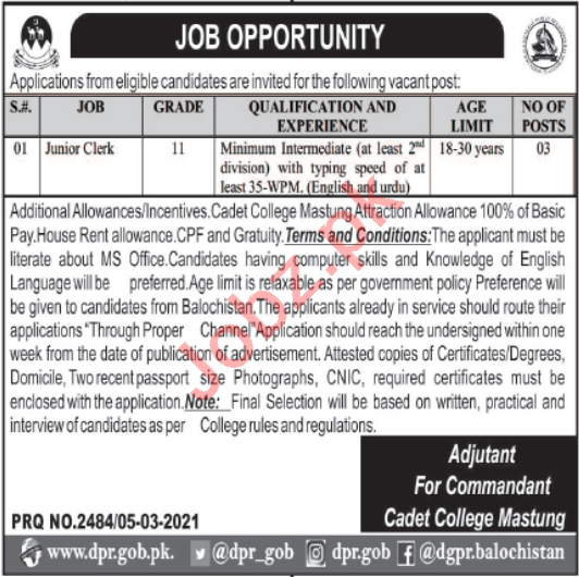 Cadet College Mastung Jobs 2021 for Junior Clerk