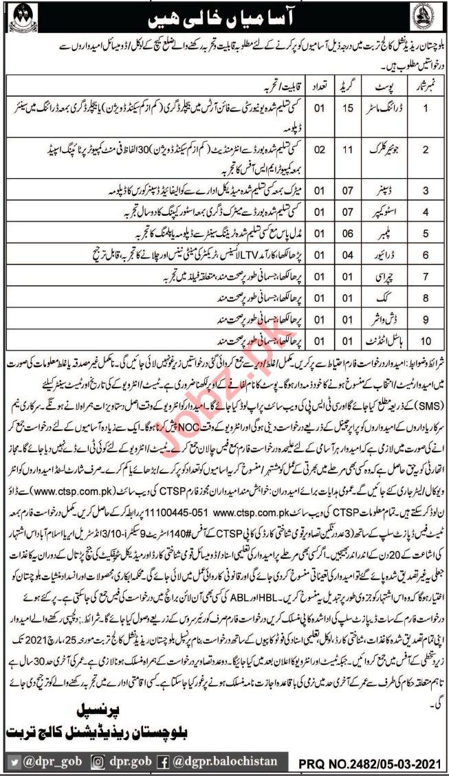 Balochistan Residential College Turbat Jobs 2021 for Clerk